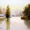 By the river, watercolour painting