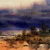 Coming Storm, Barcaldine, Queensland, Watercolur painting
