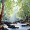 Watercolour landscape painting Little waterfall at end of stream at Lenox Bridge, Sydney