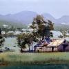 Watercolour landscape painting of Australian farm scene at Quirindi