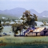 Watercolour landscape painting of Australian farm scene at Quirindi